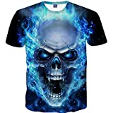 Yvelands Skull 3D Printed Tees Shirt Moda Guapo de los Hombres Divertido Casual O-Cuello Slim T-Shirts Blusa de Manga Corta Tops Vacaciones de Verano de la Playa, Liquidación (Azul, XXXXL)