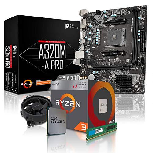 dercomputerladen PC Aufrüstkit AMD 3-2200G 4x3.5 GHz - 8GB DDR4, AMD Vega 8-2GB, Mainboard Bundle, Tuning Kit, für Spiele und Office geeignet