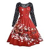 OverDose Damen Frohe Weihnachten Stil Frauen Vintage Print Langarm Weihnachten Abend Party Cosplay Elegante Slim Swing Kleid Geschenk(Y-Rot,M)