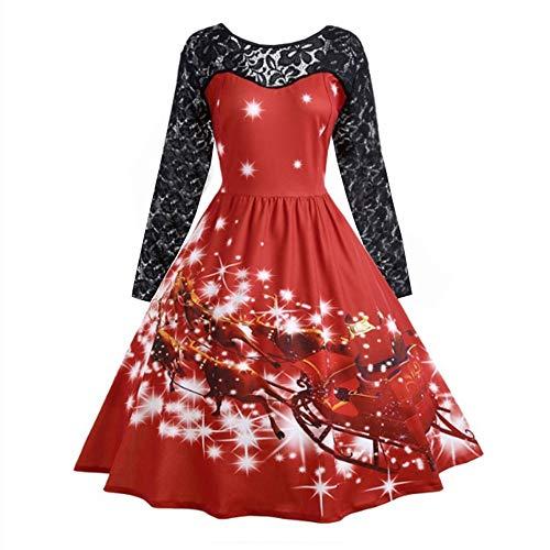 OverDose Damen Frohe Weihnachten Stil Frauen Vintage Print Langarm Weihnachten Abend Party Cosplay Elegante Slim Swing Kleid Geschenk(Y-Rot,L)