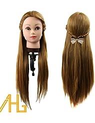 """Professional 26 """"Super Long 30% reel Cheveux coiffure Equipement Mannequin Head formation pour le college et a usage professionnel-Tête à coiffer Professionnelle + Support"""