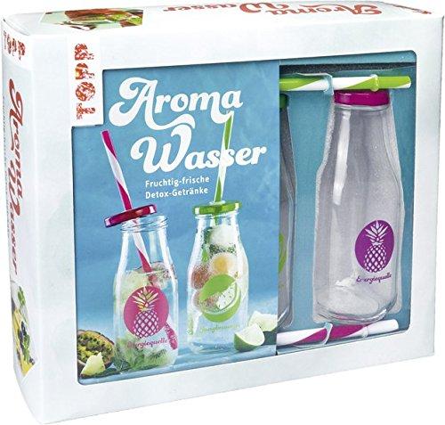 Preisvergleich Produktbild Kreativ-Set Aroma-Wasser: Buch mit Grundlagen und 24 Rezepten sowie zwei Glasflaschen mit Deckeln und Strohhalmen (Buch plus Material)