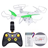 Drone with Camera, Honor-Y 20 Minutes Long Flight Time 6-Axis Gyro 2.4GHz RC Quadcopter Drone with FPV Camera Live Video Onekey Landing for Beginners,Kids and Adults ( White )