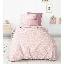 Aminata Kids süsse Kinderbettwäsche Bettwäsche 135x200 cm Sterne rosa weiss Baumwolle Mädchen Teenager Pastell rosa Stern Sternmotiv rose