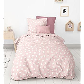 aminata kids biber bettw sche 135x200 cm sterne rosa weiss baumwolle m dchen teenager pastell. Black Bedroom Furniture Sets. Home Design Ideas