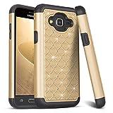 Funda Samsung Galaxy J5 2016, HanLuckyStars Samsung J3 2016 Funda [Rhinestone Tachonado][Cristal Bling][Anti-choques] Híbrido Rugged Slim Carcasa Case para Samsung Galaxy J5 2016 (5,2 Pulgadas) Oro
