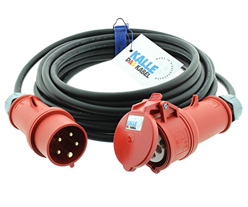 CEE-Verlängerungskabel Gummi H07RN-F 5G 2,5mm² 400V 16 A mit Phasenwender 5 Meter von KALLE DAS KABEL