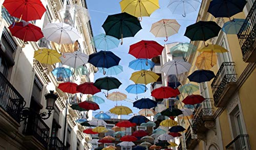 OKOUNOKO Puzzles De 1000 Piezas para Adultos Ciudad De Los Paraguas Montaje De Madera Decoración para El Juego De Juguetes para El Hogar Explora La Creatividad Y La Resolución De Problemas