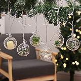 Warmiehomy 6 x Weihnachtsbaum Kugeln hängende Glaskugeln mit weißer Schneeflocke Teelichthalter Pflanzenbehälter 8cm
