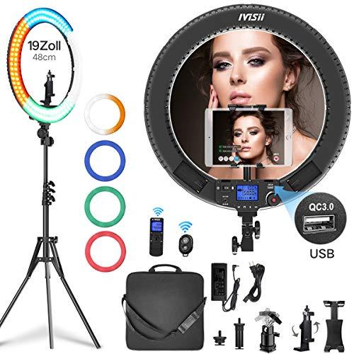 Ringlicht mit drahtloser Fernbedienung, IVISII 19 Zoll mit LCD-Display Einstellbare Farbtemperatur 3000K-5800K mit Ständer für YouTube-Make-up, Videoaufnahmen, Vlog, Selbstporträt