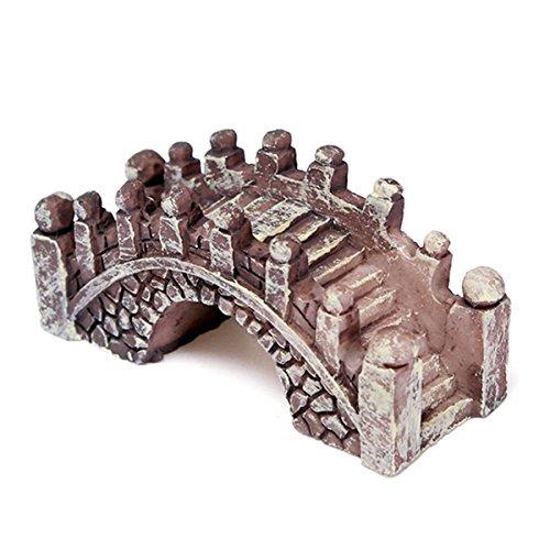 SODIAL(R) Puente Miniatura Jardin de Hadas Terrario Casa de Munecas Estatua Estatuilla Decoracion Domestica Ornamento Marron