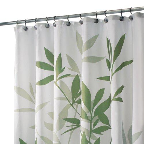 InterDesign Leaves Duschvorhang | Designer Duschvorhang in der Größe 180,0 cm x 200,0 cm | schickes Duschvorhang Motiv mit Blättern | Polyester grün Stoff Dusche Vorhang Grün