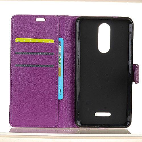Klassische Litchi Texture PU Leder Schutzhülle Horizontale Folio Flip Stand Case Cover mit Kartensteckplätzen für WIKO UPULSE ( Color : White ) Purple