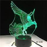 wangZJ 3d Illusion Lampe / 7 Farbwechsel Touch Nachtlicht/Baby Schlafzimmer Dekoration/Kinder Geschenk/hx/Einhorn Big Wings