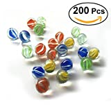 NUOLUX 16MM gatti occhi sparatutto marmi colorati vetro modellato Perline sfere di vetro per i bambini, 200 pz immagine