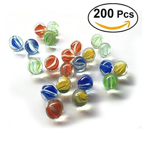 TOYMYTOY 200pcs Boules de Verre Colorées pour Enfants Jeu de Plein Air