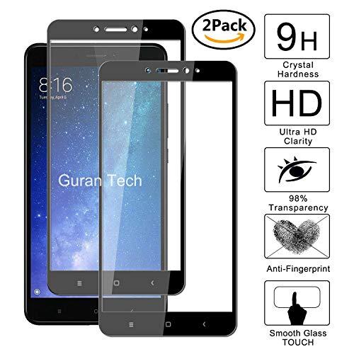 Guran [2 Paquete] Protector de Pantalla para Xiaomi Mi Max2 [Full Coverage] Vidrio Cristal Templado 100% Cobertura Completa Film - Negro