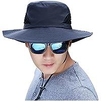 Eastlion uomini respirabili e pieghevole Outdoor Sun-ombreggiatura Sun Boonie Cappello