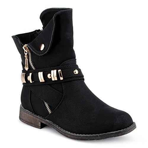 Fusskleidung Damen Stiefeletten Stiefel Schnalle Reißverschluss Blockabsatz Schlupf Biker Boots Schuhe Schwarz EU 38