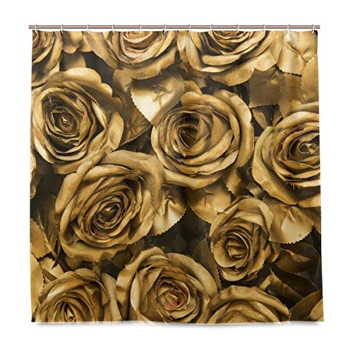 De Rose Designs Bad (ShineSnow Badezimmer Dusche Vorhang Golden Stoff Rosen Design Haltbarer Stoff Bad Vorhänge Schimmelresistent Wasserdicht Badezimmer mit 12Haken 183,0cm x183,0cm)