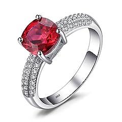 Idea Regalo - JewelryPalace Donna Gioiello 2.6ct Creato Rosso Rubino di Cuscino Solitario Anello di Fidanzamento 925 Argento Sterling Regalo di San Valentino