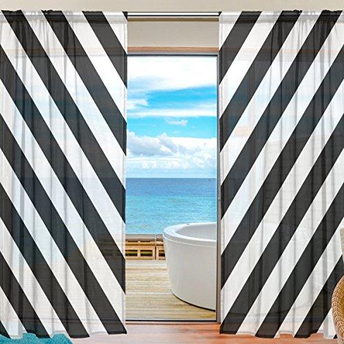 BONIPE schwarz und weiß gestreift Sheer Vorhang Voile Tüll Fenster Vorhang für Küche Schlafzimmer Wohnzimmer Home Decor, 139,7x 198,1cm, 2Platten Set, Polyester, Multi, 55x84x2(in) -
