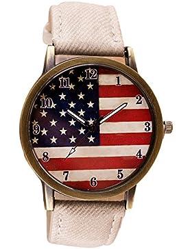 Coolster Herren & Damen Chic Uhren American Flag Muster Armbanduhr Armband (Weiß)