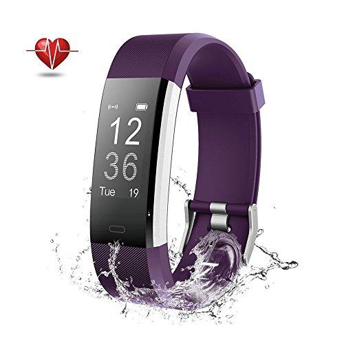 Fitness Tracker GPS Herzfrequenz - Wisenovo Fitness Tracker Uhr mit Pulsmesser, IP67 Wasserdicht Aktivitätstracker Smart Watch für Damen Herren - Bluetooth Smart ArmbandUhr Schrittzähler mit Schlafmonitor Kalorienzähler Anruf SMS Kompatibel mit iOS Android Handy - Lila