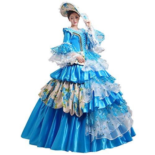 �dchen Lagerter Gothic viktorianischen Kleid Kostüm Abendkleid Palace Maskerade Königin Prinzessin Kleid (Renaissance Mädchen Blau Kostüme)