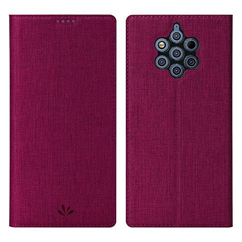 Eactcoo Ersatz für Nokia 9 Pureview Hülle,Premium PU Leder klappbares Folio Flip Case TPU Cover Bumper Tasche Mit Standfunktion Magnetverschluss Kartenfach Wallet Handyhülle(Nokia 9 Pureview, Red)