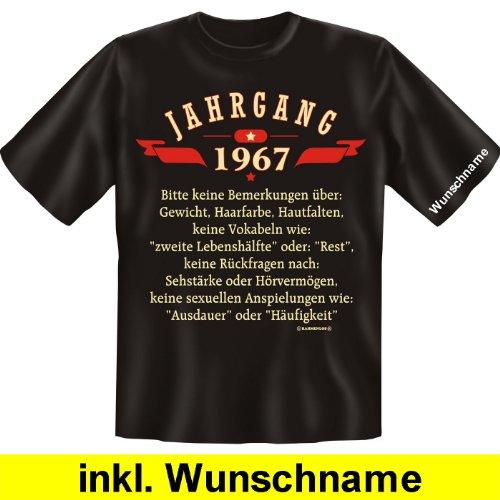 Compleanno T-Shirt con nome a scelta: anno marce 1967-si prega di non osservazioni sul... (con angelo nome) (colore: nero) nero L