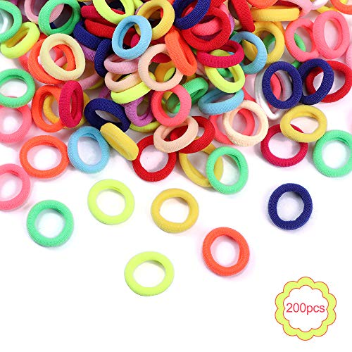 200 pezzi colorati elastici per capelli per bambine elastici mini per i capelli dei bambini e per la coda di cavallo