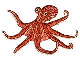 Krake Octopus Tintenfisch Aufnäher Bügelbild Größe 9,5 x 6,6 cm