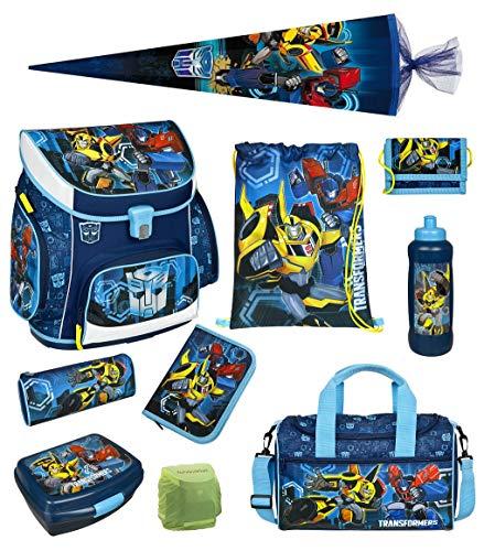 Familando Transformers Schulranzen-Set 10 TLG. mit Federmappe, Brotzeit-Dose, Trink-Flasche, Sporttasche, Regenschutz und große Schultüte 85cm