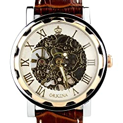 Orkina Mens Rose Gold Color Case Transparent Hand Winding Mechanical Dial Leather Strap Wrist Watch KC023LRW