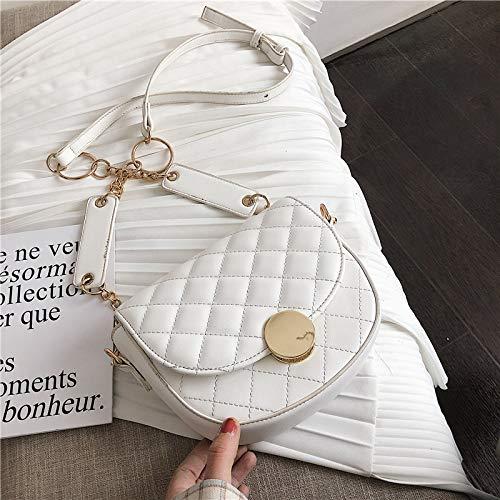 XMY Kleine Tasche weibliche Wilde Messenger Bag Lingge Schulter Mode Satteltasche, weiß -