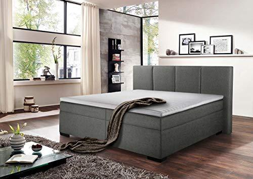 lifestyle4living Boxspringbett 180x200, grau, Stoff | Entspannter schlafen auf dem modernen Doppelbett komplett mit Kopfteil