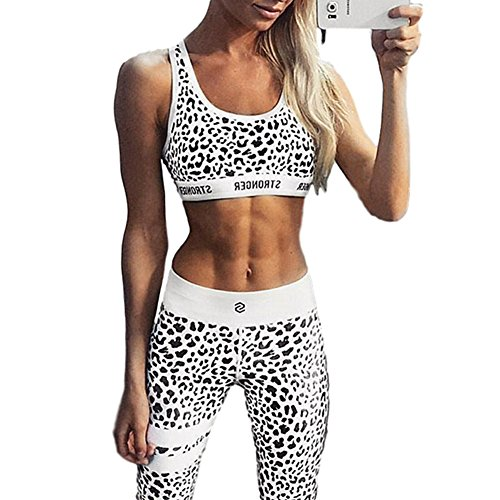 Chickwin Bekleidung Yoga Set, Komfort Damen Sport BH Sport Leggings Trainingshose ohne Bügel Yoga Fitness Training (M, Leopard)