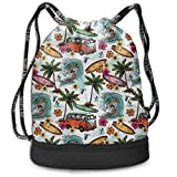 Sporttaschen, Rucksäcke,Drawstring Backpack Hawaiian Surfer On Wavy Print Travel Sport Yoga Gym...
