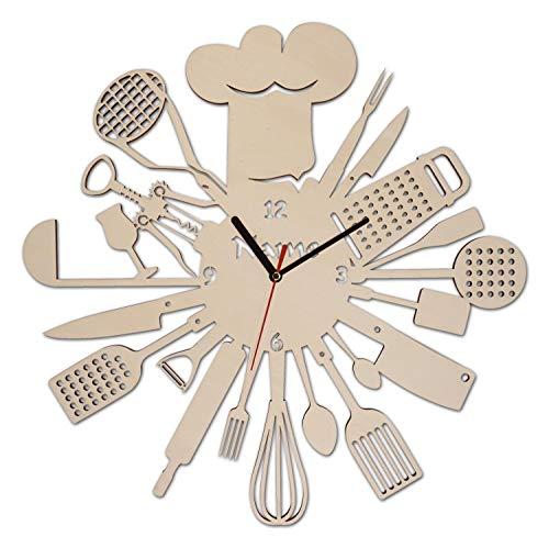 Wand Uhr Kochen Backen Geschenke Männer Frauen Hobbykoch Kochfreunde Deko individuell personalisiert - Personalisierte Wand-uhr