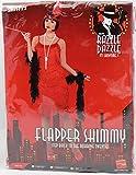 20er Jahre Charlestonkostüm rot Kostüm Charleston Damen Fransenkleid Gr. 36-46, Größe:L
