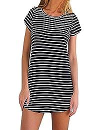 ♥ Camisas Mujer ♥ Nueva Blusa de Mujer Camisetas de Manga Corta con Cuello Redondo Camiseta Suelta a Rayas Mini Vestido ♡Xinantime♡