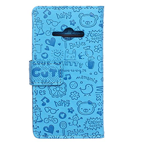 Voguecase® für Apple iPhone 4 4G 4S, Kunstleder Tasche PU Schutzhülle Tasche Leder Brieftasche Hülle Case Cover (My Phone 02) + Gratis Universal Eingabestift magic girl/Blau