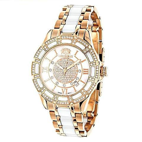 Womens Ceramic Watches Rose Gold Diamond Two Tone White MOP LUXURMAN Galaxy