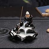 EsportsMJJ Porcelana Negra Lotus Backflow Quemador De Incienso Cerámico Incensario Cono Stick Holder Fragante Decoración