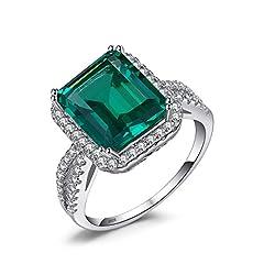 Idea Regalo - JewelryPalace Donna Gioiello 3.6ct Lusso Verde Artificiale Nano Russo Smeraldo Halo Anello di Fidanzamento Promessa Argento Sterling 925 Regali di Natale
