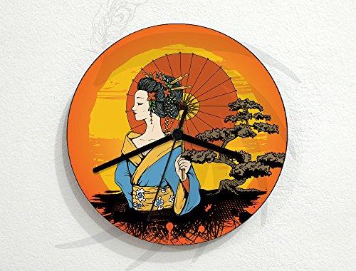 Preisvergleich Produktbild Japan - Geisha with Umbrella Sunset Bonsai - Traditional - Custom Name Wall Clock