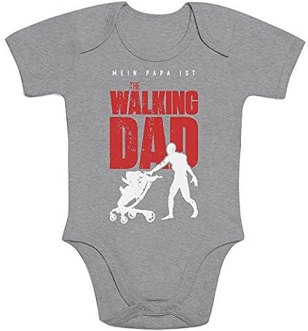 Vater Geschenk - Mein Papa ist The walking DAD Baby Body Kurzarm-Body 57/68 (3-6M) Grau (Geschenk Ideen Dad Geburtstag)