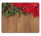 luxlady Naturkautschuk Mousepads Bild-ID 30824851Winter und Weihnachten Flora mit Rot Weihnachtsstern Blumen Holly Ivy Mistelzweig und Fichte Tanne über Eiche Holz Hintergrund