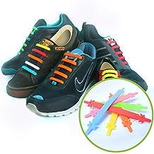CORDONES ELASTICOS (Estándar 12 piezas, Arcoiris (Rainbow)) - No Tie Laces Elásticos de Silicona con un Diseño Especial para Halar y Bloquear Fácilmente - Perfecto para Niños Pequeños, Niños Disprax